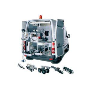 Configuração em carrinha Unidade móvel para inspeção de tubagens hidromelhoras